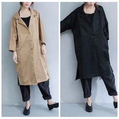 Casual Loose Long Cotton Wind Coat Tops Women Clothes W1869A