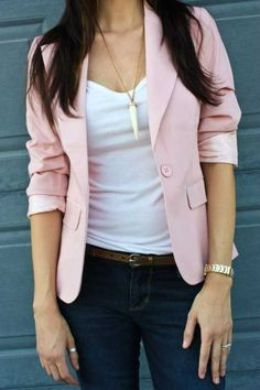 Cute pink blazer outfit - I think I'd like a casual blazer. I need to replace the cheap crappy one I wear all the time with a good one.