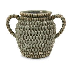 """Fadina Large Ceramic Vase -  With a uniquely textured, detailed design and dual handles, this casual ceramic vase makes the perfect addition to any room decor. Material: 99% ceramic, 1% glaze. 8.75""""h x 12.25""""w x 8.25""""."""