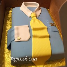 Men's short cake Slate blue men's shirt with cuff links, yellow tie and age on cake Michael Kors Tops Button Down Shirts