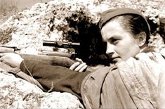 Lyudmila Mykhailivna Pavlichenko (1916-1974) was a Soviet sniper during World War II. Credited with 309 kills (including 36 snipers), she is regarded as the most successful female sniper in history. She declined to join the army as a nurse and instead requested infantry service. After recovery from combat wounds, she was named a Hero of the Soviet Union in October 1943. She became the first Soviet citizen to be received by a U.S. President when Franklin Roosevelt welcomed her to the White…