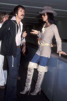 Sonny Bono & wife Cher, 1977 Getty Images - HarpersBAZAAR.com