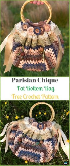 Crochet Parisian Chique Fat Bottom Bag Free Pattern - Crochet Handbag Free Patterns Instructions