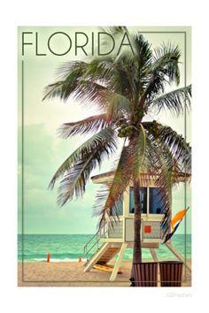 Florida - Lifeguard Shack and Palm Posters par Lantern Press sur AllPosters.fr