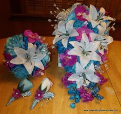 Malibu blue and Raspberry This set is for sale: $150.00 Contact me directly at bethlee13@gmail.com