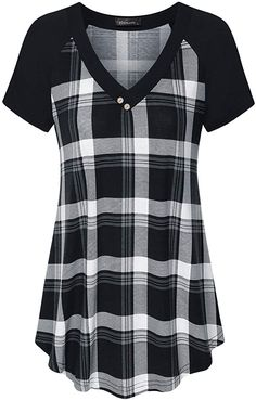Tunic Shirt, Shirt Blouses, Long Sleeve Tunic, Short Sleeve Dresses, Plaid Shirt Outfits, Flannel Shirts, How To Roll Sleeves, Casual Tops, Clothes For Women
