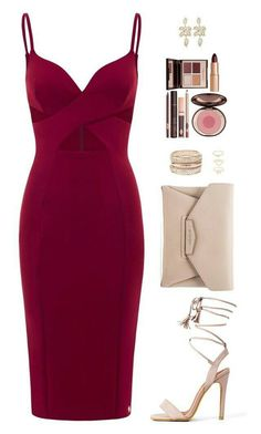 watch out! sexy vixen is those curvy lovin' red dress featuring moda, Givenchy, Charlotte Russe y Charlotte Tilbury Lila Outfits, Date Outfits, Dressy Outfits, Night Outfits, Chic Outfits, Sexy Outfits, Date Night Outfit Classy, Fashionable Outfits, Dressy Dresses