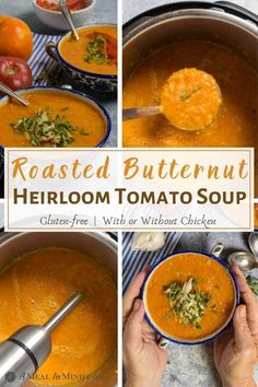 This butternut squash-tomato soup combines the nutty flavor of butternut squash with the tang of heirloom tomatoes, both roasted for flavor. Dairy-free, with chicken or vegan options. | A Meal In Mind #amealinmind #butternut #butternutsquashsoup #tomatosoup #heirloomtomatoes #fallsoup #chicken Chowder Recipes, Soup Recipes, Chicken Recipes, Dinner Recipes, Healthy Fried Chicken, Roasted Red Pepper Soup, Gluten Free Recipes For Kids, Dairy Free Soup, Chicken And Butternut Squash
