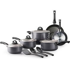 Tramontina 13-Piece Lock & Drain Non-Stick Cookware Set, Gray