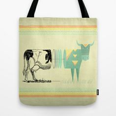 the black and white cow who wanted to be colorfully geometric  Tote Bag by AmDuf - $22.00