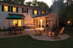 I love this backyard. With so many #outdoorliving options, you can host a huge party with any crowd. Durham Screened Porch & Patio with Outdoor Fire pit