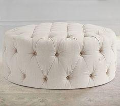 Round Tufted Ottoman, Erin Linen Oatmeal #pbkids