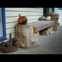 Bench using tree stumps  this would be great to have !!!