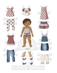 Paper Doll School: Fashion Friday - Independence Day ABIGAIL - black / person of color little girl