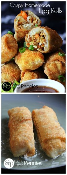 This recipe is easy to make and homemade Egg Rolls taste amazing! (Can be baked or fried)! This recipe is easy to make and homemade Egg Rolls taste amazing! (Can be baked or fried)! Egg Roll Recipes, Great Recipes, Favorite Recipes, Homemade Egg Rolls, Homemade Recipe, Plat Vegan, Def Not, Asian Cooking, Rolls Recipe