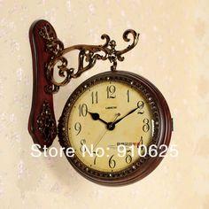 Dos lados de moda relojes de pared doble reloj enfrentado vendimia reloj de cuarzo en Relojes de Pared de Casa, cocina y Jardín en AliExpress.com | Alibaba Group