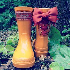 Timber & Tamber Rain Boots Rubber Gumboots Orange. $47.00, via Etsy.