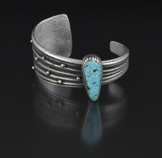 """Michael Roanhorse (Navajo), Bracelet, no date, silver and turquoise, 1-1/4"""" x 5-1/4"""" circumference"""