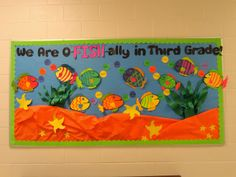 Back to school bulletin board - We Are O-Fish-Ally in Third Grade