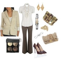 tweed trousers, created by #jillhammel on #polyvore. #fashion #style Ralph Lauren Arden B