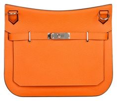 Herms Togo Leather Jypsiere 28cm Messenger Handbag Orange Cross Body Bag.