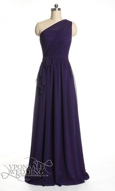 Elegant Long Purple Bridesmaid Dress with Single Shoulder DVW0105 | VPonsale Wedding Custom Dresses
