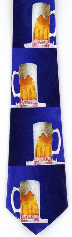 New Beer Mugs Mens Necktie Alcohol Mug Cerveza Bar Brew Food Drink Blue Neck Tie #StevenHarris #NeckTie
