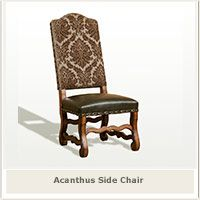 Dining Chairs Old World Acanthus Brown Upholstery with Leather Seat $565