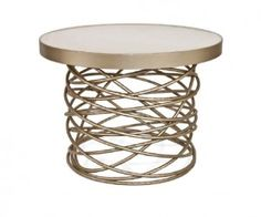 """Bianca"" accent table from Bradley Hughues.  Wood, concrete, antique mirror, glass, onyx."