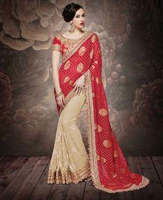 Buy Classy Chiku & Deep Red Party Wear Saree online at  https://www.a1designerwear.com/classy-chiku-deep-red-party-wear-sarees  Price: $92.54 USD