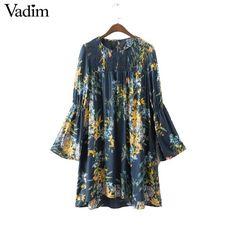 Women vintage flower print dress long sleeve o neck pleated elastic loose retro mini dresses female causal brand vestidos QZ2863