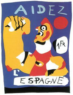 """Spain - 1937. - GC - poster - """"Help Spain""""  - autor: Joan Miró"""