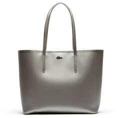 Lacoste Chantaco tote bag in gold or silver piqué leather ($295) ❤ liked on Polyvore featuring bags, handbags, tote bags, bags bags, leather goods, leather tote bags, genuine leather tote, gold tote bag, purse ve silver tote bag