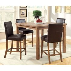 Furniture Of America Sorrell II Counter Ht. Table With Chairs CM3555PT