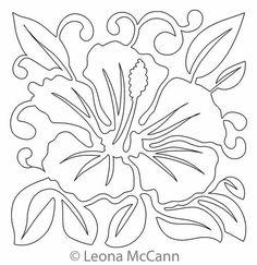 Digital Quilting Design Hawaiian Flower Block 2 by Leona McCann.