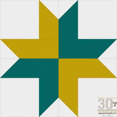"Piece N Quilt: How to: Right Handed Star - 30 Days of Sewing Quilt Blocks - Star Version!--Today's fun star is the Right Handed Star, this block will finish at 12"" square and it' really quick to make. The strips are cut 2 1/2"" so it'd be a great star to make from a jelly roll!"