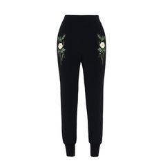 Black Embroidered Julia Pants - Stella Mccartney Official Online Store - SS 2017