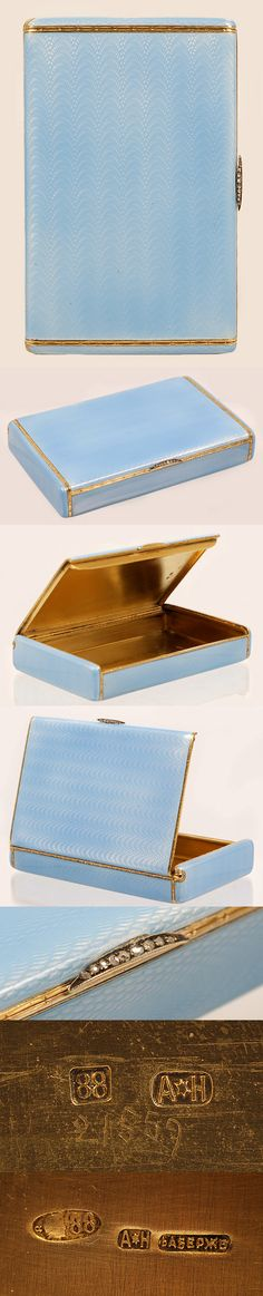 A Faberge silver gilt and guilloche enamel cigarette case, workmaster August Hollming, St Petersburg, 1908-1917. The rectangular case covered in translucent pale blue enamel over an engine-turned wave pattern ground with chased gilt bands and diamond-set thumbpiece, with scratched inventory number 21559.