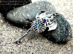 Aqua Ice Crystal Drake Fantasy Key Pendant / by ArtbyStarlaMoore