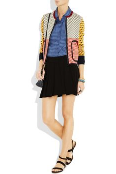 Tory Burch explores her funky side with this patchwork cardigan, and we like it!