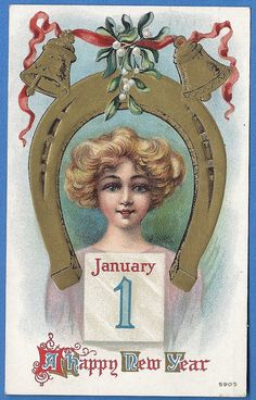 A Happy New Year January 1 Vintage Postcard 1910 by MagpieSue, $3.00