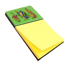 Tropical Fish on Green Refiillable Sticky Note Holder or Postit Note Dispenser 8568SN