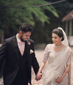 White Saree Wedding, Sari Wedding Dresses, Wedding Frocks, Modest Wedding Gowns, White Bridal, Wedding Sarees, Christian Wedding Dress, Christian Bridal Saree, Christian Bride