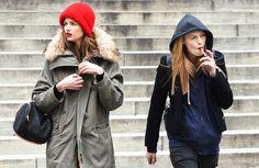 red beanie, red lip. I like it.