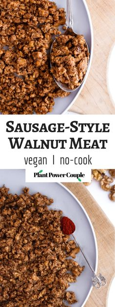 Walnut Meat, sausage-style (vegan, gluten-free option, no-cooking required!) This vegan sausage-style walnut meat is a great option for topping pizzas, Walnut Recipes, Raw Vegan Recipes, Vegan Breakfast Recipes, Vegan Gluten Free, Meat Recipes, Whole Food Recipes, Food Processor Recipes, Vegetarian Recipes, Healthy Recipes