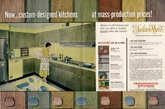 Welcome to my gallery of 1950s kitchens, bathrooms and more — inspiration images from vintage advertising and marketing materials. These are just the beginning of help here on the blog to create a retro kitchen! INSTRUCTIONS: Click on the first image to launch the slide show, all images will show larger.