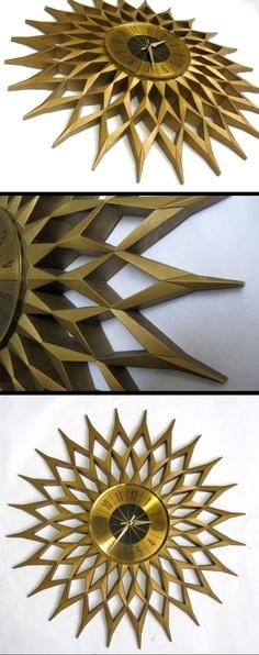 1960s Elgin Gold Lattice Starburst Clock