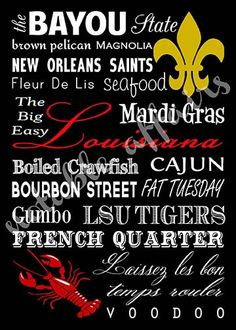 Louisiana Cajun Typography Word Art Print - no frame included - 11X14 size