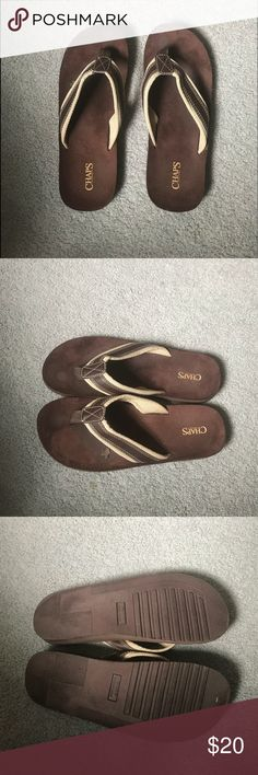 Men's CHAPS flip-flops, size 12-13, lightly worn Men's CHAPS flip-flops, size 12-13, lightly worn, brown & beige. Light mark on sandals as shown, obviously can't see while wearing. Chaps Shoes Sandals & Flip-Flops