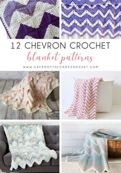 These chevron crochet blankets are so pretty and an adventure to make. Test out your stitch knowledge with these exciting afghan patterns. Chevron Crochet Blanket Pattern, Crochet Blanket Border, Afghan Crochet Patterns, Knitting Patterns, Crochet Blankets, Crochet Afghans, Baby Blankets, Crochet Stitches, Free Crochet